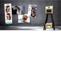 Tiny Selfie by KIS - Make your events unforgettable with the Tiny Selfie! A photo kiosk with a unique 2in1 concept: - take and print the best selfie photos in few seconds - Instantly print photos from a smartphone Light and compact, the kiosk allows you to optimize your space or the arrangement of your events. In addition, the height of the feet can be easily adjusted to fit all audiences (PRM, children, etc...). Due to customizable templates and software and also the multiple print formats , the Tiny Selfie is definitely the animation that creates the difference. Choose it in champagne or orange colory!